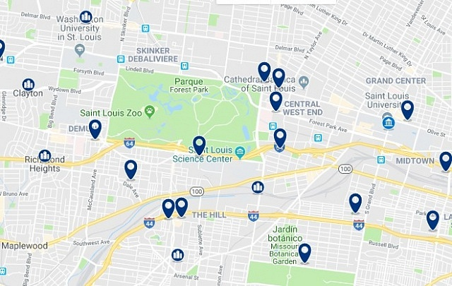 Accommodation in Midtown St. Louis - Click on the map to see all available accommodation in this area