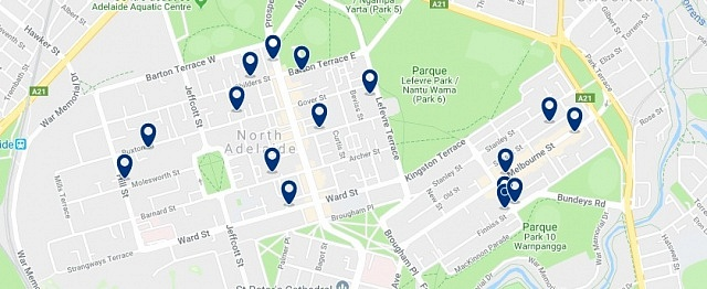 Accommodation in North Adelaide - Click on the map to see all available accommodation in this area