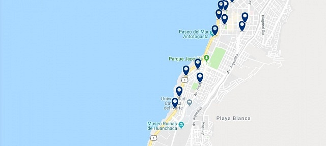 Accommodation in Antofagasta Sur - Click on the map to see all accommodation in this area