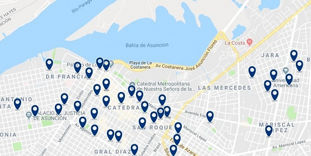 Accommodation in Asunción Centro Histórico - Click on the map to see all accommodation in this area