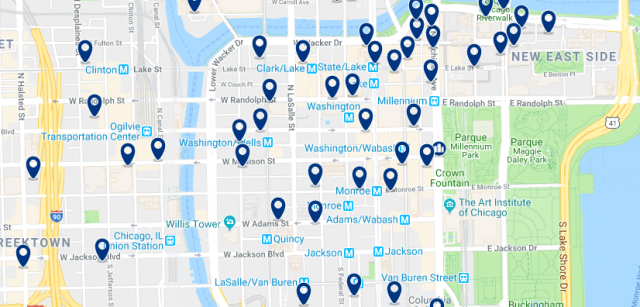 Accommodation in Chicago Loop - Click on the map to see all available accommodation in this area