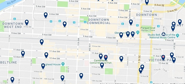 Accommodation in Downtown Calgary - Click on the map to see all accommodation in this area