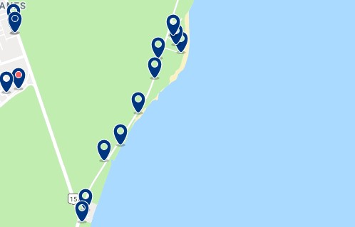 Accommodation in Playa Paraíso - Click on the map to see all available accommodation in this area