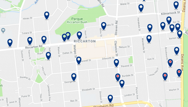 Accommodation in Riccarton – Click on the map to see all accommodation in this area