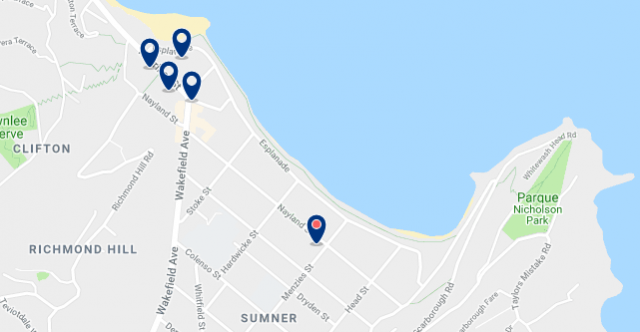 Accommodation in Sumner – Click on the map to see all accommodation in this area