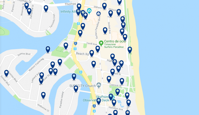 Accommodation in Surfers' Paradise – Click on the map to see all accommodation in this area