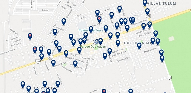 Accommodation in Tulum City Center - Click on the map to see all available accommodation in this area