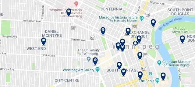 Accommodation in Winnipeg City Centre - Click on the map to see all available accommodation in this area