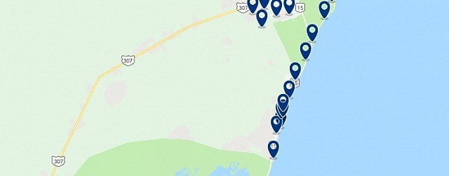 Accommodation in Tulum's Hotel Area - Click on the map to see all available accommodation in this area