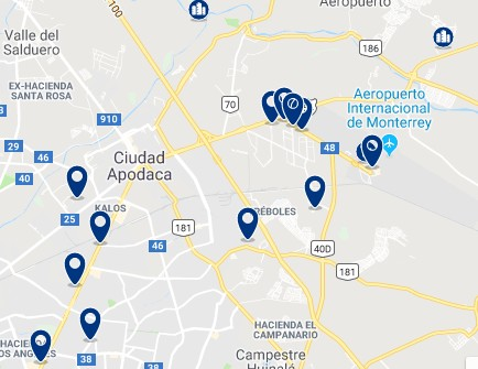 Accommodation in Apodaca – Click on the map to see all available accommodation in this area