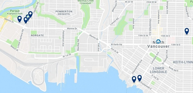 Accommodation in North Vancouver - Click on the map too see all available accommodation in this area