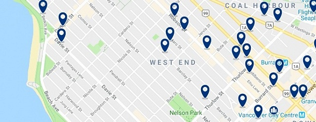 Accommodation in Vancouver - West End - Click on the map too see all available accommodation in this area