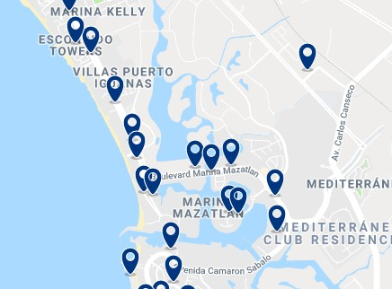Accommodation in Zona Marina – Click on the map to see all available accommodation in this area