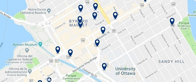 Accommodation in Byward Market - Click on the map to see all available accommodation in this area