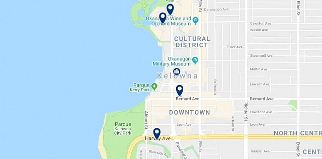Accommodation in Downtown Kelowna - Click on the map to see all available accommodation in this area