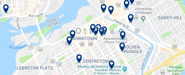 Accommodation in Downtown Ottawa - Click on the map to see all available accommodation in this area