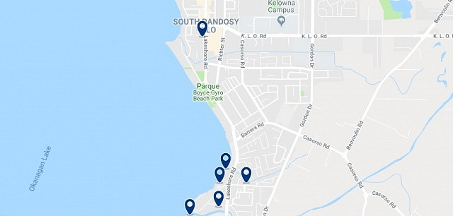 Accommodation in South Pandosy - Click on the map to see all available accommodation in this area