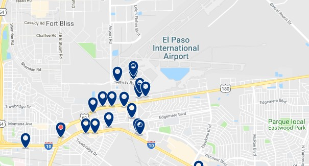 Accommodation near El Paso International Airport - Click on the map to see all available accommodation in this area