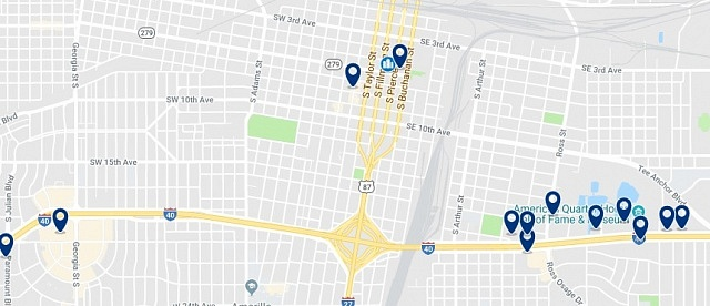 Accommodation in Downtown Amarillo - Click on the map to see all available accommodation in this area