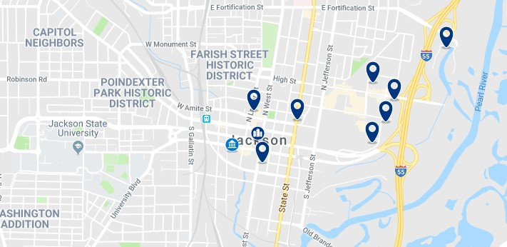 Accommodation in Downtown Jackson, MS - Click on the map to see all available accommodation in this area