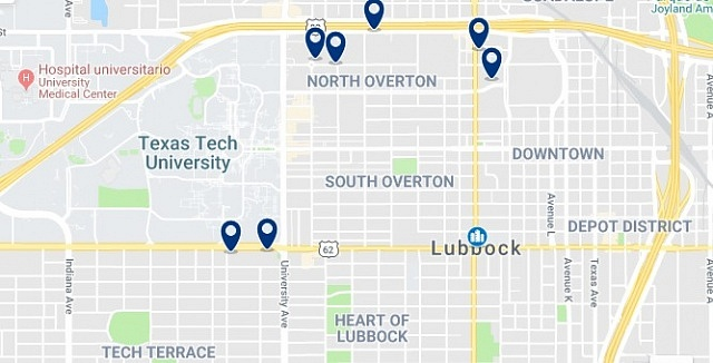 Accommodation in Downtown Lubbock - Click on the map to see all available accommodation in this area