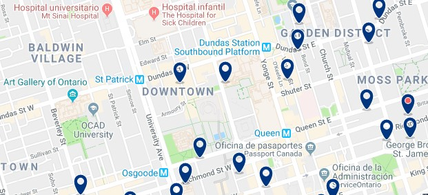 Accommodation in Downtown Toronto - Click on the map to see all available accommodation in this area