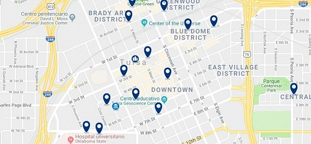Alojamiento en Downtown Tulsa - Click on the map to see all available accommodation in this area