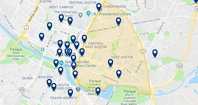 Accommodation in East Austin - Click on the map to see all accommodation in this area