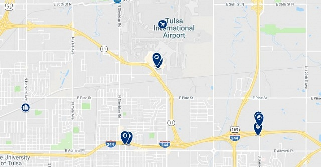 Accommodation in East Tulsa - Click on the map to see all available accommodation in this area