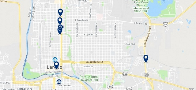 Accommodation in Laredo, Texas - Click on the map to see all available accommodation in this area