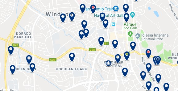 Accommodation in Windhoek City Centre - Click on the map to see all available accommodation in this area