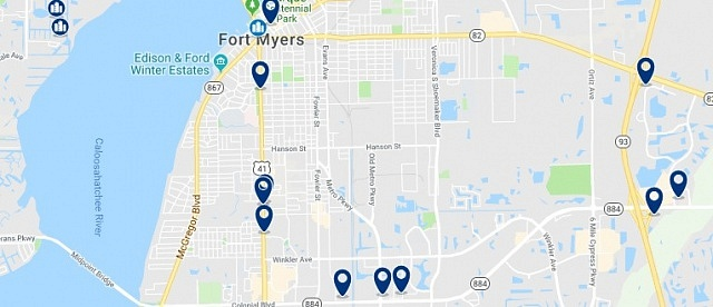 Accommodation in Downtown Fort Myers - Click on the map to see all available accommodation in this area