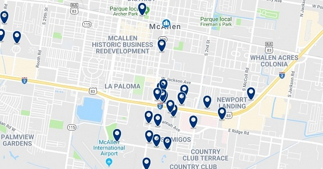 Accommodation in Downtown McAllen - Click on the map to see all accommodation in this area