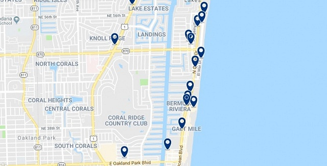 Alojamiento en Fort Lauderdale Beach - Click on the map to see all available accommodation in this area