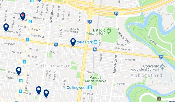 Accommodation in Collingwood - Click on the map to see all available accommodation in this area