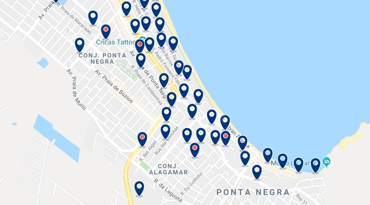 Accommodation in Ponta Negra - Click on the map to see all available accommodation in this area