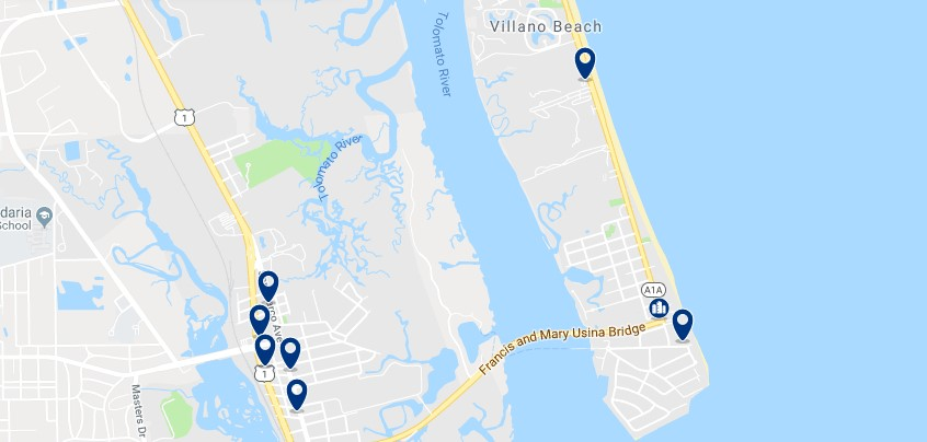 Accommodation in Villano Beach - Click on the map to see all available accommodation in this area