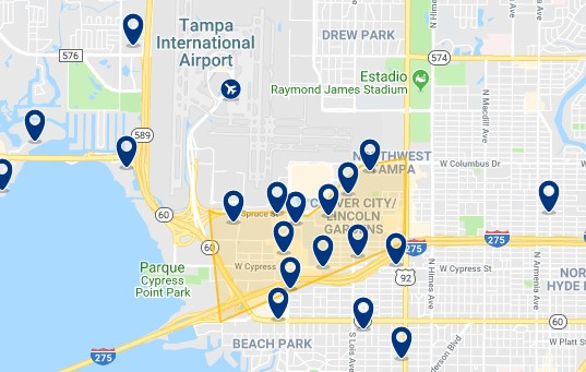 Accommodation in Westshore and near Tampa International Airport - Click on the map to see all available accommodation in this area