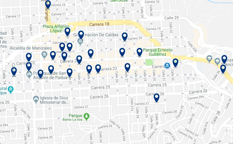 Accommodation in Manizales' City Center - Click on the map to see all available accommodation in this area