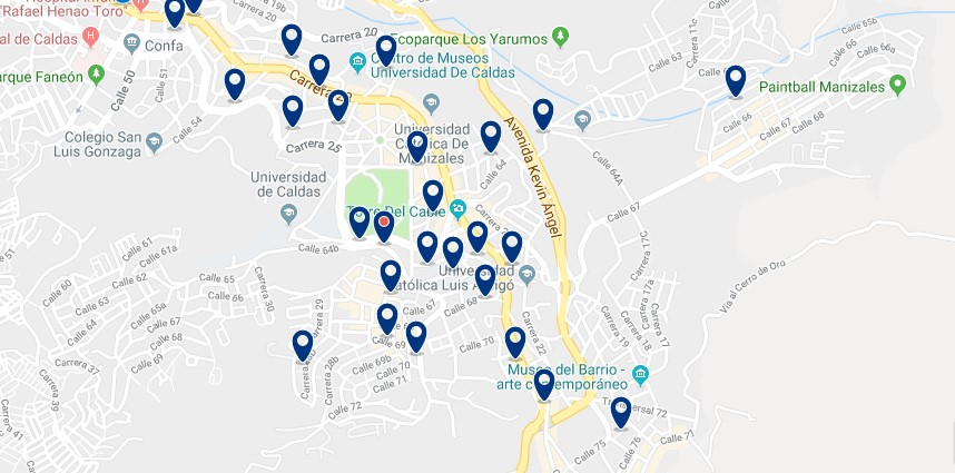 Accommodation in East Manizales - Click on the map to see all available accommodation in this area