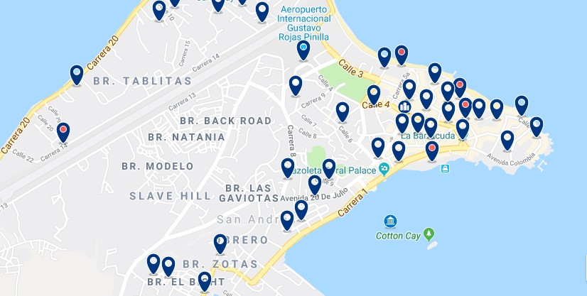 Alojamiento en la Bahía de San Andrés - Click to see all available accommodation on a map