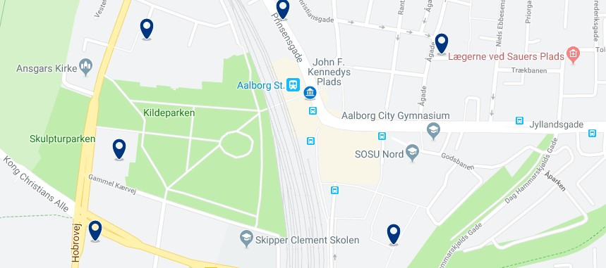 Accommodation near Aalborg Central Station - Click on the map to see all available accommodation in this area