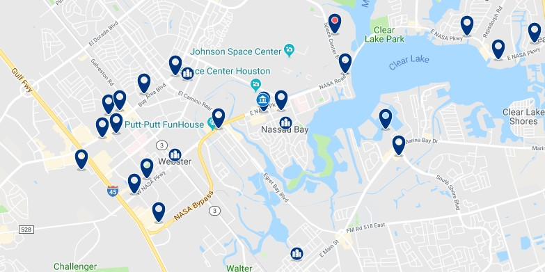 Accommodation near NASA Johnson Space Center - Click on the map to see all available accommodation in this area