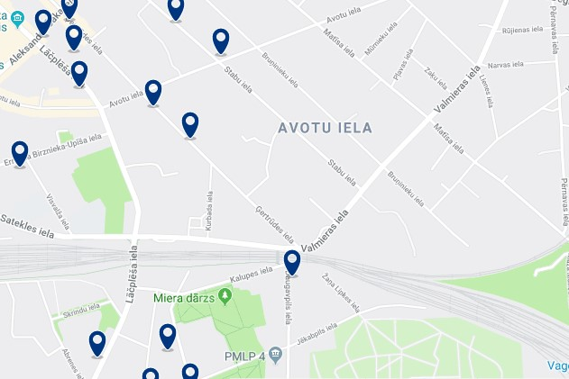 Accommodation in Avotu Iela - Click on the map to see all available accommodation in this area