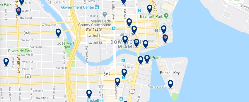 Accommodation in Downtown Miami - Click on the map to see all available accommodation in this area