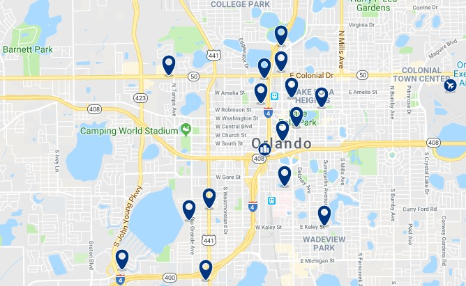 Accommodation in Downtown Orlando - Click on the map to see all available accommodation in this area