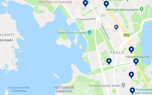 Accommodation in Etu-Töölö - Click on the map to see all available accommodation in this area