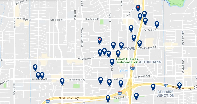 Accommodation in Galleria & Uptown - Click on the map to see all available accommodation in this area