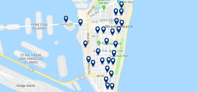 Accommodation in South Beach- Click on the map to see all available accommodation in this area