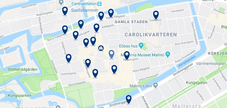 Accommodation in Malmö City Centre - Click on the map to see all available accommodation in this area